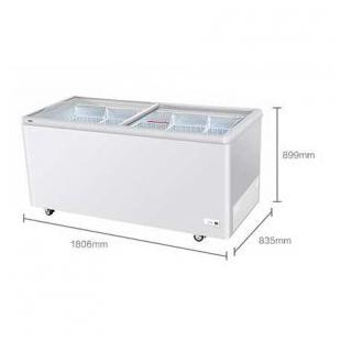 海尔卧式冰柜商用大容量玻璃展示柜大型冷冻柜