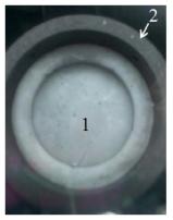 制备的FLiNaK熔盐样品的图像(1. FLiNaK熔盐;2. 石墨坩埚).png