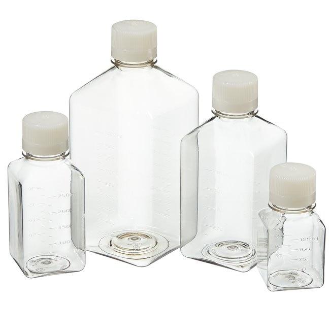 Nalgene™ PET 带盖方型培养基瓶:无菌、收缩薄膜托盘