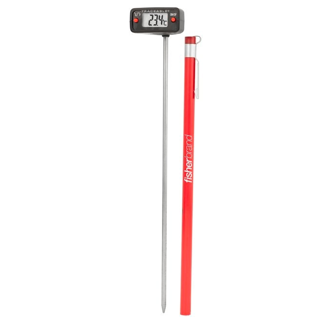 Traceable™ Digital Thermometers with Stainless-Steel Stem, 0.25 in. LCD Screen, and Protective Guard