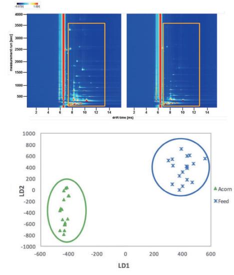 图8. 不同极性色谱柱检测伊比利亚火腿的气相离子迁移谱图及PCA图.png
