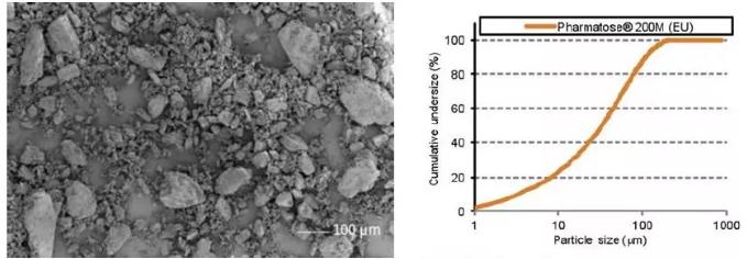 图1 Pharmatose 200M、SEM图片、粒度分布(厂家数据).png