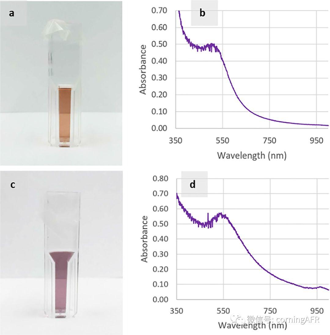 图3.  康宁反应器上合成的纳米金颗粒照片和吸光度检测.jpg