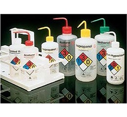 易认安全洗瓶,LDPE,白色LDPE或PPCO瓶体;PP或HDPE盖;PPCO填充管,500mL容量,普通酒精,白色瓶盖