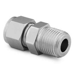 不锈钢 世伟洛克卡套管接头, 外螺纹连接, 3 mm 卡套管外径 x 1/4 in. NPT 外螺纹