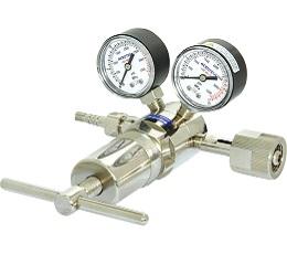AD-HHH黄铜镀铬氮气/氦气/氩气/氧气减压器(含螺母密封垫),可接3mm或1/8英寸管路