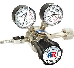 AD-1H黄铜镀铬氮气/氦气/氩气/氧气减压器(含螺母密封垫),带流量计,可接3mm或1/8英寸管路