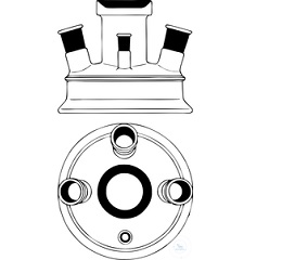 LID, FLAT FLANGE, DN 200, CN KF 25, 3X ANGLED SIDE NECK 15° KF 15, 1X STRAIGHT SIDE NECK (KF 45°) KF 15, BOROSILICATE GLASS