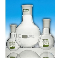 FLASKS, ROUND BOTTOM,  CENTER NECK, ACC. TO DIN 12348,  4 000 ML, ST 45/40, 207 X 310 MM