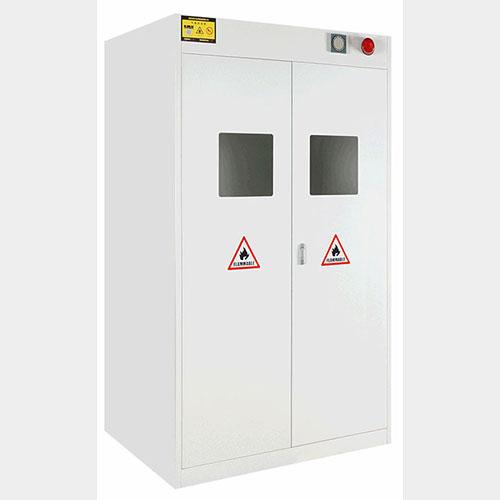 1200*450*1900黄色三瓶带全钢结构报警实验室专用气瓶柜