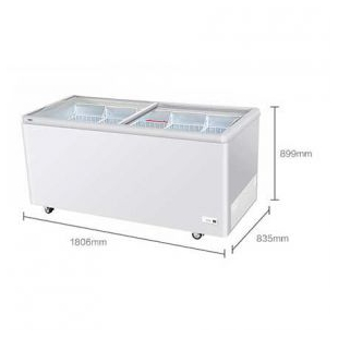 卧式冰柜商用大容量玻璃展示柜大型冷冻柜