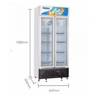 商用立式保鲜冰柜 海尔冷藏柜风冷展示柜水果饮料保鲜柜 玻璃门冷柜