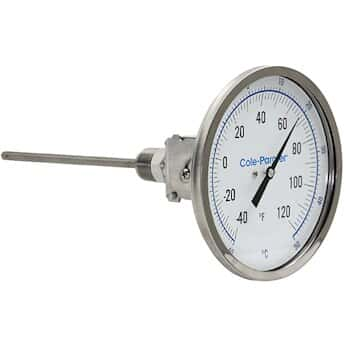 "Cole-Parmer Industrial Bimetal Thermometer, 5"" Dial, Adjustable Angle, 2 ½"" Stem, -40-120°F (-40-50°C)"