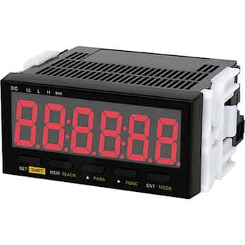 Shimpo DT-501XD-TRT Panel Meter Tachometer, 9-35 VDC Powered, NPN Open Collector Output