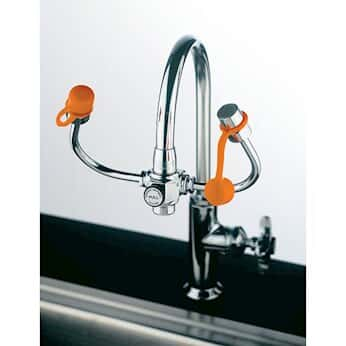 Guardian Equipment G1101 Faucet-Mount Personal Eyewash with gooseneck-mounted outlets