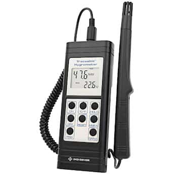Digi-Sense 带报警功能的温湿计, RS-232, 10 至 95% 相对湿度, 0 至 199F