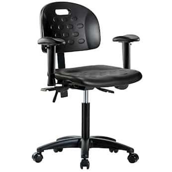 Cole-Parmer Black Polyurethane Desk Height Ergonomic Chair With Arm Rests And Casters