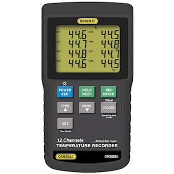 General Tools DT4208SD 12-Channel Temperature Recorder with Sd Card Data Logging