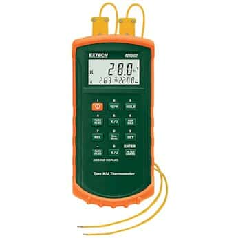 Extech 421502 Dual-Input Thermocouple Thermometer with Alarm