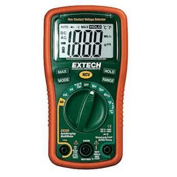 Extech EX330 Mini Autoranging MultiMeter with Temp + Voltage Detector