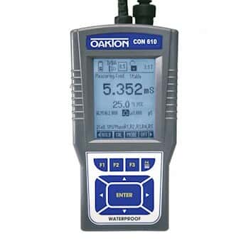 Oakton CON 610 Waterproof Con/TDS/Res/Sal/Temp Meter Kit with NIST Calibration