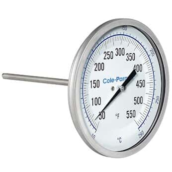 "Cole-Parmer Industrial Bimetal Thermometer, 3"" Dial, Back Connect,  2 ½"" Stem, 50/550F & 10/290C"