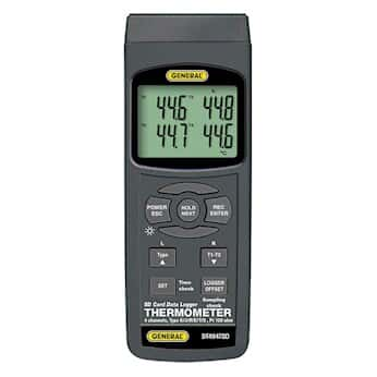 General Tools DT4947SD 4-Channel Thermometer with Sd Card Data Logging