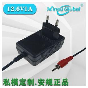 中国CCC认证12.6V1A双路双充锂电池充电器日本PSE认证12.6V1A锂电池充电器