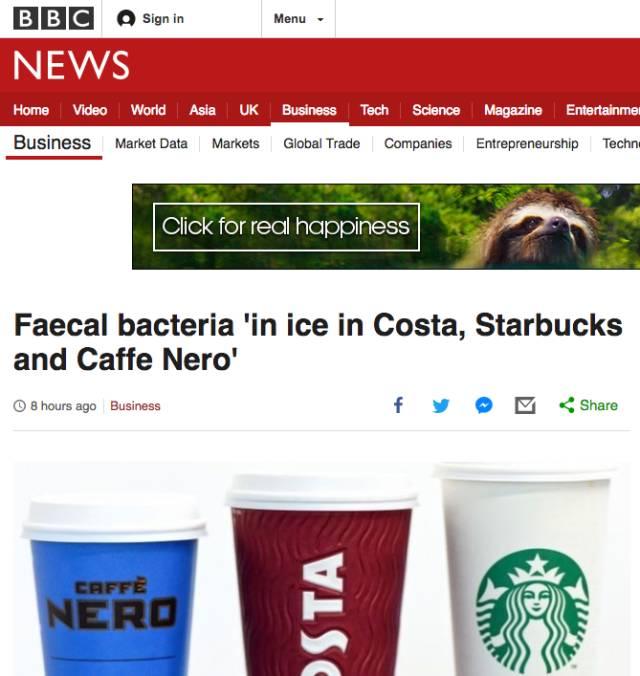 英媒:星巴克Costa冰块检出含粪大肠菌群