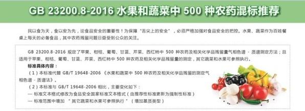 安谱实验倾情奉上GB 23200.8-2016 水果和蔬菜中500种农药混标