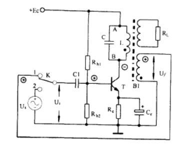 在这个电路中,输入信号经三极管放大后倒相180°,如果反馈电压再
